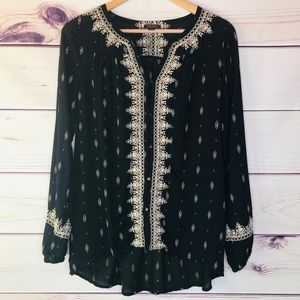 Lucky Brand Embroidered Sheer Button Front Blouse